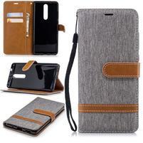 Jeans PU kožené/textilné peňaženkové puzdro na Nokia 5.1 - sivé