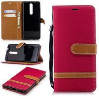 Jeans PU kožené/textilné peňaženkové puzdro na Nokia 5.1 - červené