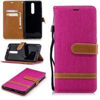 Jeans PU kožené/textilné peňaženkové puzdro na Nokia 5.1 - rose
