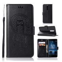 Owl PU kožené peňaženkové puzdro na mobil Nokia 5.1 - čierne