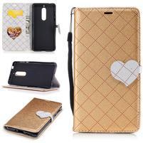Hearts PU kožené puzdro na Nokia 5 - zlaté