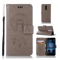 Owl PU kožené peňaženkové puzdro na mobil Nokia 5.1 - sivé