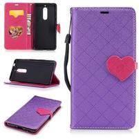 Hearts PU kožené puzdro na Nokia 5 - fialové