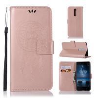 Owl PU kožené peňaženkové puzdro na mobil Nokia 5.1 - rosegold