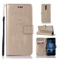 Owl PU kožené peňaženkové puzdro na mobil Nokia 5.1 - zlaté