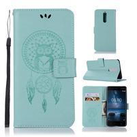 Owl PU kožené peňaženkové puzdro na mobil Nokia 5.1 - cyan