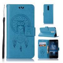 Owl PU kožené peňaženkové puzdro na mobil Nokia 5.1 - modré