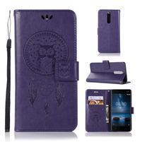 Owl PU kožené peňaženkové puzdro na mobil Nokia 5.1 - fialové