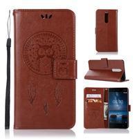 Owl PU kožené peňaženkové puzdro na mobil Nokia 5.1 - hnedé