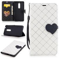 Hearts PU kožené puzdro na Nokia 5 - biele