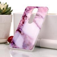 Marble silikónový kryt na mobil Nokia 6.1 - ružovo-biely