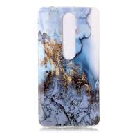 Marble silikónový kryt na mobil Nokia 6.1 - zlato-modrý