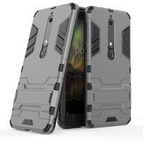 Defender odolný hybridný obal so stojančekom na Nokia 6.1 - šedý