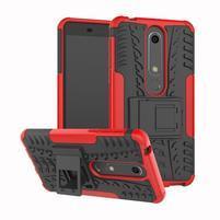 Outdoor odolný obal so stojančekom na Nokia 6.1 - červený