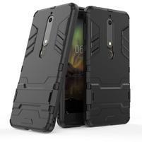 Defender odolný hybridný obal so stojančekom na Nokia 6.1 - čierny