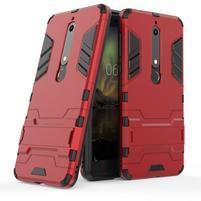 Defender odolný hybridný obal so stojančekom na Nokia 6.1 - červený