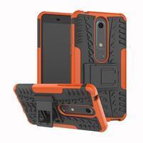 Outdoor odolný obal so stojančekom na Nokia 6.1 - oranžový