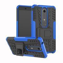 Outdoor odolný obal so stojančekom na Nokia 6.1 - modrý