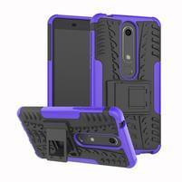Outdoor odolný obal so stojančekom na Nokia 6.1 - fialový
