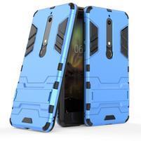 Defender odolný hybridný obal so stojančekom na Nokia 6.1 - svetlomodrý
