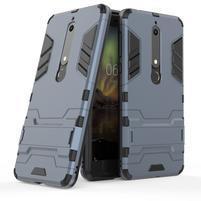 Defender odolný hybridný obal so stojančekom na Nokia 6.1 - tmavomodrý