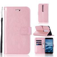 Dream PU kožené peňaženkové puzdro na mobil Nokia 6.1 - ružovozlaté