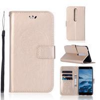 Dream PU kožené peňaženkové puzdro na mobil Nokia 6.1 - zlaté