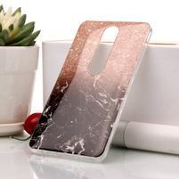 Marble silikónový kryt na mobil Nokia 6.1 - oranžovo-čierny