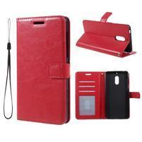 Crazy PU kožené puzdro na mobil Nokia 6 - červené