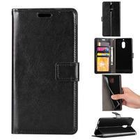 Wallet PU kožené peňaženkové puzdro na Nokia 6 - čierne