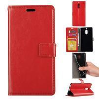 Wallet PU kožené peňaženkové puzdro na Nokia 6 - červené