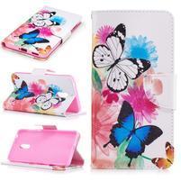 Emotive PU kožené puzdro pre mobil Nokia 6 - kvetinoví motýľci