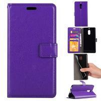 Wallet PU kožené peňaženkové puzdro na Nokia 6 - fialové