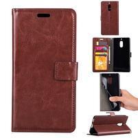 Wallet PU kožené peňaženkové puzdro na Nokia 6 - hnedé