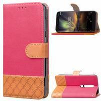 Jeansy PU kožené/textilné puzdro na mobil Nokia 6.1 - ružové