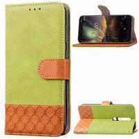 Jeansy PU kožené/textilné puzdro na mobil Nokia 6.1 - zelené