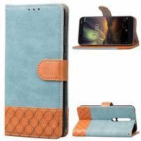 Jeansy PU kožené/textilné puzdro na mobil Nokia 6.1 - modré