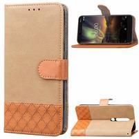 Jeansy PU kožené/textilné puzdro na mobil Nokia 6.1 - khaki