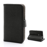 Litchi PU kožené peňaženkové puzdro na Nokia 620 - čierne