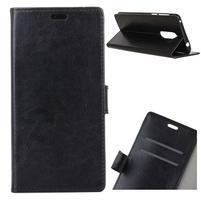 Horse PU kožené puzdro na Nokia 7 Plus - čierne