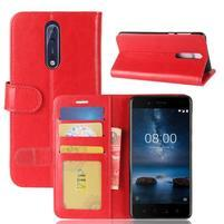 Crazy PU kožené puzdro na mobil Nokia 8 - červené