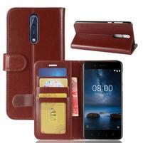 Crazy PU kožené puzdro na mobil Nokia 8 - hnedé