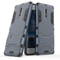 Defender odolný obal so stojanom na Nokia 8 - tmavomodrý