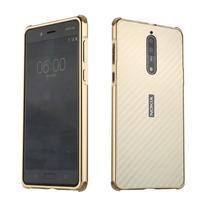 Metal 2v1 odolný obal na mobil Nokia 8 - zlatý