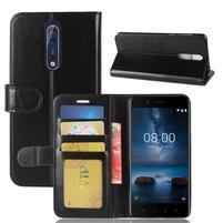 Crazy PU kožené puzdro na mobil Nokia 8 - čierny