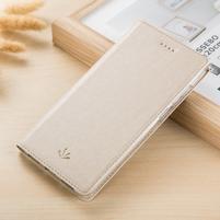 Leathy PU kožené klopové puzdro na mobil Nokia 8 a Nokia 9 - zlaté