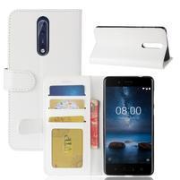 Crazy PU kožené puzdro na mobil Nokia 8 - biele