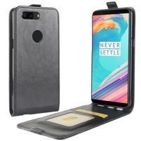 Crazy PU kožené flipové puzdo na OnePlus 5T - čierne