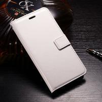 Horse PU kožené peňaženkové puzdro na OnePlus 5T - biele