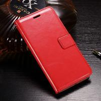 Horse PU kožené peňaženkové puzdro na OnePlus 5T - červené